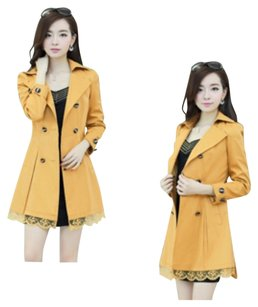 Other Trench Slim Lace Fur Polyester. Autumn Trench Coat