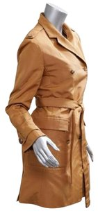 Other Ralph Rucci Chado Womens Rust Pumpkin Silk Trench Jacket Trench Coat