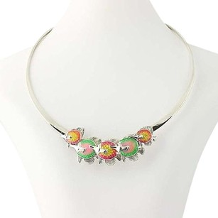 Tropical Fish Necklace - Sterling Silver Enamel Kabana 16.5 Statement