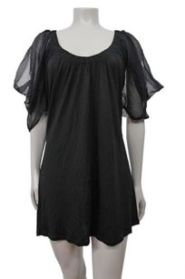 Other Flounce Batwing Chiffon Sheer Sleeve Tunic