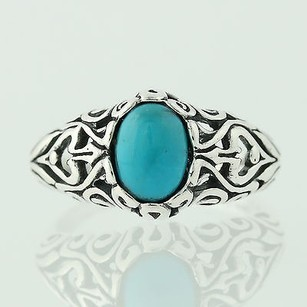 Turquoise Ring - Sterling Silver Open Work Hearts 7.25 Oval Solitaire