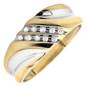 Two Tone Gold Finish Two Diagonal Rows Genuine Diamond Wedding Band Ring 0.12ct.