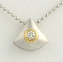 Two-toned Diamond Triangle Necklace 15.5 - 18k White Yellow Gold .05ct