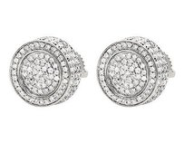 Other Unisex 10k White Gold 3d Pave Set Genuine Round Diamond Stud Earrings 1.20ct