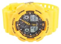 Other Unisex Yellow Sport Watch Digital Analog Day Date Display Timer Steel Silicon