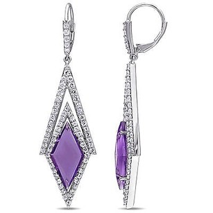 Other Versace 19.69 Abbigliamento Sportivo Silver Amethyst Dangle Earrings