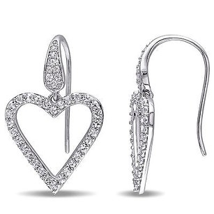 Other Versace 19.69 Abbigliamento Sportivo Silver Sapphire Heart Drop Earrings