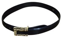 Other Vicenza Womens Black Solid Belt Gold Buckle Leather