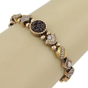 Victorian 14k Gold Gold Filled Gemstones Charm Slide Bracelet