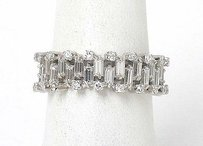 Vintage 14k White Gold 3.5ctw Baguette Round Diamond Wide Band Ring