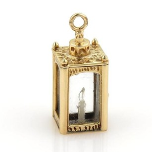 Vintage 14k Yellow Gold White Gem Candle Crystal Case Charm Or Pendant