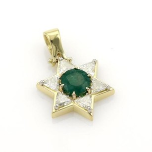 Other Vintage 3.20ct Emerald Diamonds 18k Yellow Gold Star Of David Pendant
