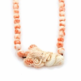 Other Vintage Carved Angel Skin Coral Dragon Pendant Long Bead Necklace