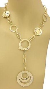 Vintage Diamonds Sapphire 18k Yellow Gold Circle Lariat Necklace