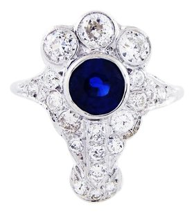 Vintage Edwardian Navette Kashmir Sapphire & Diamond Dinner Platinum Ring