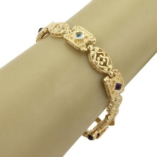 Vintage Filigree Toggle Multi-gemstone 14k Yellow Gold Oval Square Link Bracelet