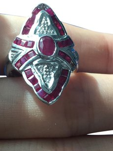 Other Vintage Natural Red Ruby Diamond Ring 14K Solid White Gold