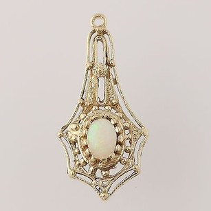 Other Vintage Opal Pendant - 14k Yellow Gold Genuine 0.28ct Ornate Design