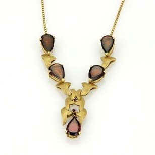 Other Vintage Retro 18k Ygold Pear Shape Garnet Floral Drop Necklace Italy
