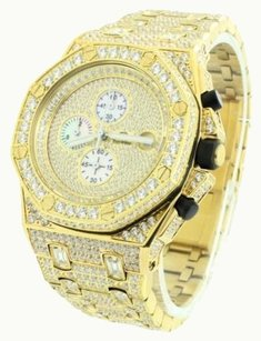 Iced Out Mens Watch Stainless Steel Simulated Diamonds Gold Ap-01 Custom Mm