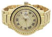Mens Jewelry Unlimited Yellow Gold Steel Simulated Canary Diamond Watch