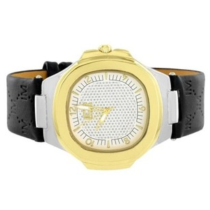Gold Tone Ice Master Watch Black Leather Band Stainless Steel Back Analog Quartz