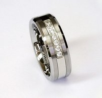 Amz White Cz Stones On 8mm Tungsten Carbide Ring Mens Wedding Band By Cohro