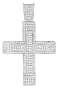 White Cross Pendant Simulated Diamonds Micro Pave Jesus Crucifix Charm Iced Out