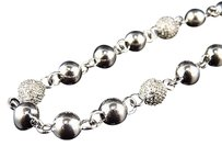 White Gold Finish 6.27mm Wide Real Diamond Bead Balls 32 Chain Necklace 3.10ct.