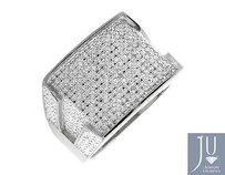 White Gold Finish Contour Rectangle Wide Diamond Pinky Exclusive Ring 0.30ct.