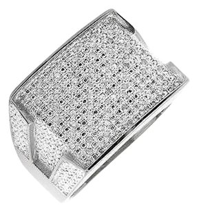 Other White Gold Finish Contour Rectangle Wide Diamond Pinky Exclusive Ring 0.30ct.