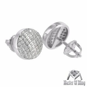 White Gold Finish Earrings Round Shape Screw On 925 Sterling Silver Lab Diamonds