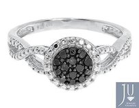 White Gold Finish Ladies Black Cluster Diamond Engagement Fashion Ring 0.25 Ct