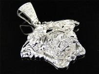 White Gold Finish Mens Mini Diamond Medusa Head Piece Pendant Charm .85 Ct
