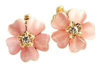 Other White Sterling Silver Gold Plated Camellia Flower Clip-On Earrings