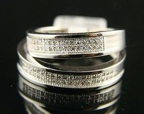 Ladies Mens Wedding Band Diamond Ring Dual Set .40 Ct