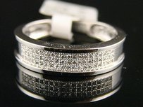 10k Mensladies Full Pave Diamond Wedding Band Ring