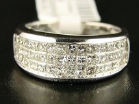 14k Ladies 3 Row Princess Cut Diamond Band Ring 1.35 Ct