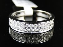 14k Mens White Gold Genuine Diamond Band Ring 0.49 Ct