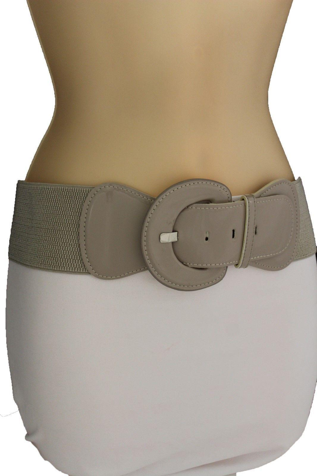 Women Fashion Belt Hip High Waist Stretch Gray Big Buckle ...