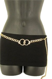 Women Gold Metal Chain Links Handcuffs Rhinestone Fashion Belt 27-41