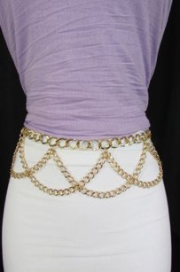 Women Metal Wide Full Chain Links Bling Fashion Belt Hip Waist Silver Gold