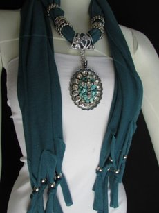 Women Scarf Teal Fashion Long Necklace Silver Rhinestones Cross Pendant Charm