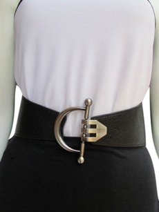 Women Waist Hip Black Wide Elastic Fashion Belt Metal Hook Buckle 30-40