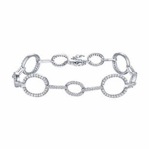 Womens Bracelet White Gold Tone Sterling Silver Oval Link Simulated Diamond