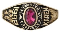 Other Womens Class Ring - Fairview High School Class 1992 Syn Pink Spinel