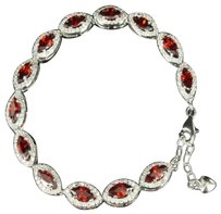Womens Marquise Cut Simulated Ruby Solitaire .925 Sterling Silver Bracelet