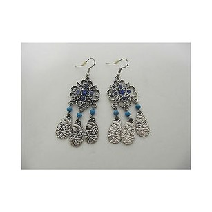 Womens Native Design Inspired Dangle Earrings Silver Blues