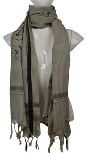 Leigh Luca Womens Black Striped Scarf One Cotton Blend Casual