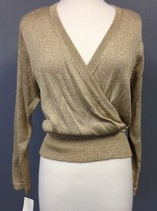 Other Tresori Metallic Rayon Band Waist Faux Wrap V Neck Sma3876 Sweater
